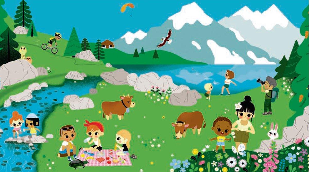Le petit monde de la montagne : à vos ciseaux ! Illustration : Lucie Brunellière