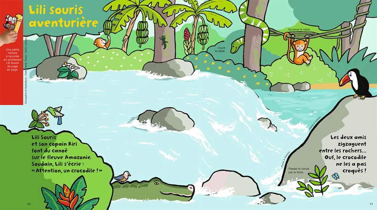 Téléchargez Lili Souris et Riri en canöe. Illustration : Anett Hardy