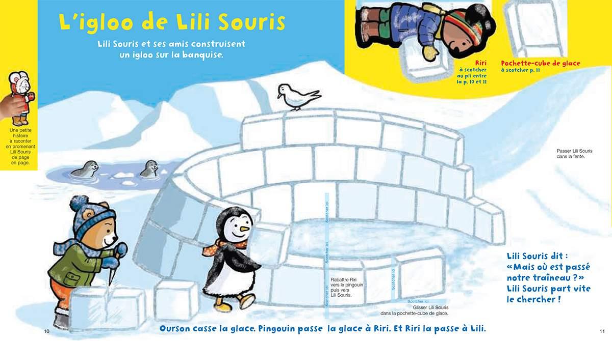 Téléchargez Lili Souris et Riri construisent un igloo. Illustration : Anett Hardy