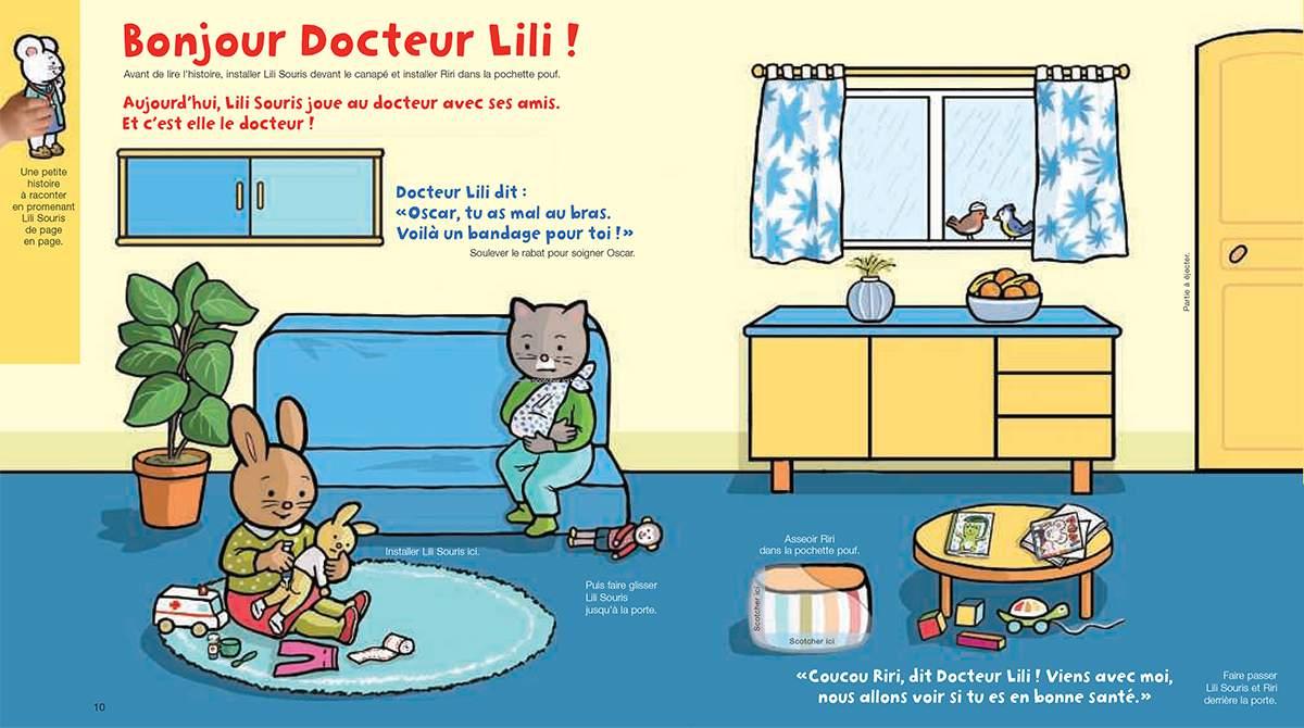 Téléchargez Lili Souris et Riri jouent au docteur avec leurs amis. Illustration : Anett Hardy