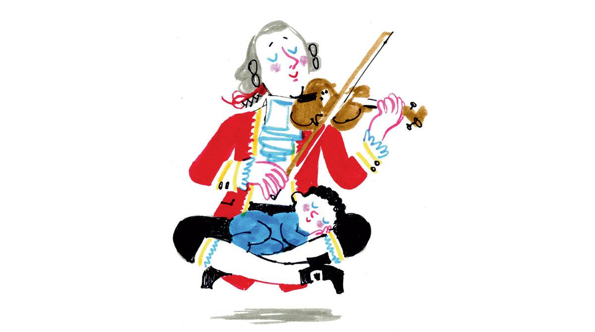 Comment calmer bébé en musique ? Illustration : Laurent Simon