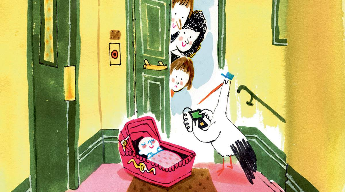 """""""Un nouveau bébé arrive"""", supplément pour les parents du magazine Popi n°377, janvier 2018. Texte : Aziliz Claquin. Illustrations : Laurent Simon."""