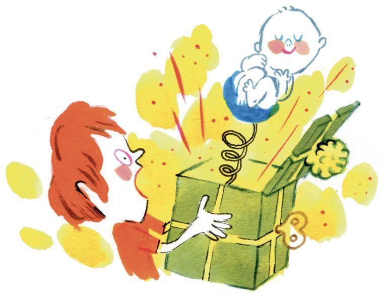 """""""Un nouveau bébé arrive"""", supplément pour les parents du magazine Popi n°377, janvier 2018. Texte : Aziliz Claquin. Illustrations du dossier et de la couverture : Laurent Simon."""