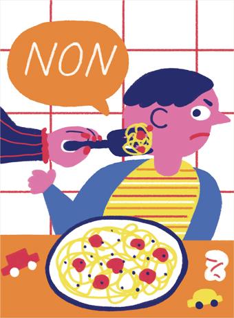 """""""Son mot favori : NON"""", extrait du supplément pour les parents du magazine Popi n° 380, avril 2018. Texte : Anne Bideault. Illustrations : Cachetejack."""