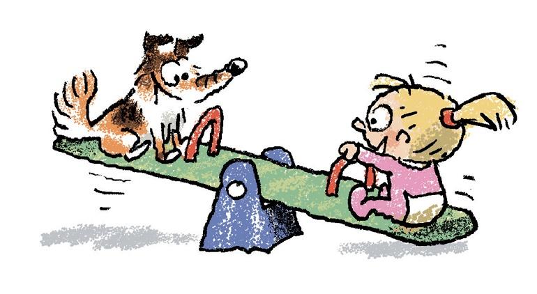 """""""Des chiens à la crèche"""", supplément pour les parents, Popi n° 381, mai 2018. Texte : Anne Bideault. Illustrations : Yves Calarnou."""