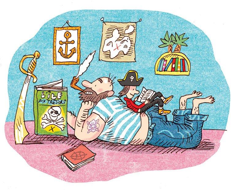 """""""On lit un livre?"""", supplément pour les parents du magazine Popi n°387, novembre 2018. Texte : Aziliz Claquin. Illustration : Frédéric Rébéna."""