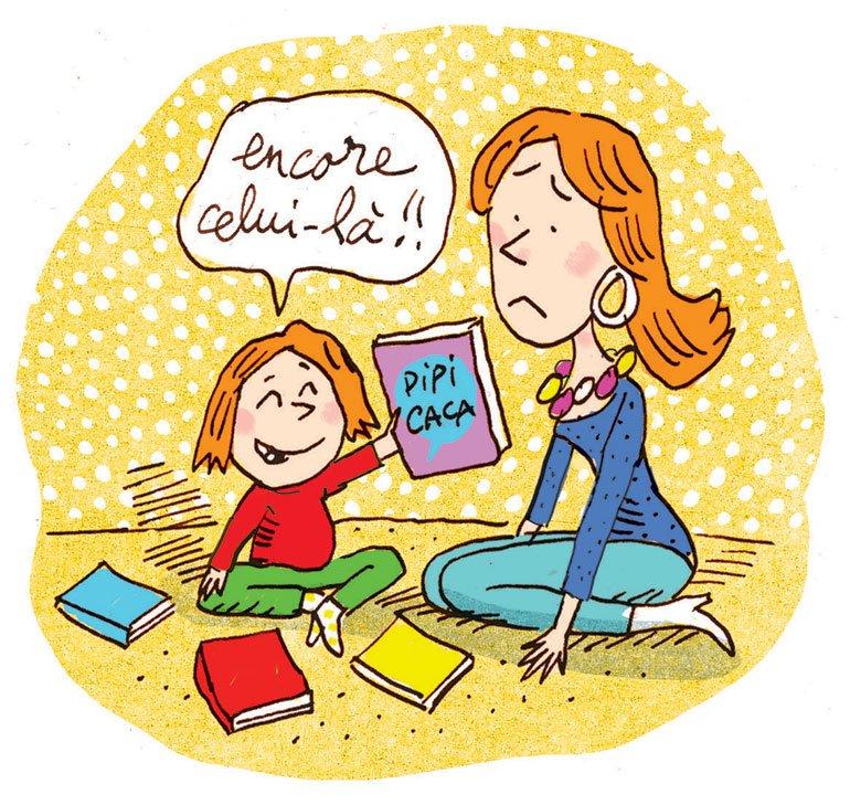 """""""On lit un livre ?"""", supplément pour les parents du magazine Popi n°387, novembre 2018. Texte : Aziliz Claquin. Illustration : Frédéric Rébéna."""