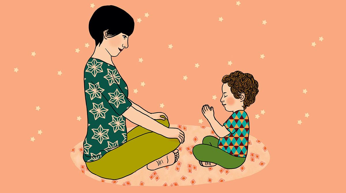 """""""L'atelier yoga"""", supplément pour les parents du magazine Popi n°390, janvier 2019. Texte : Élisabeth Jouanne. Illustrations : Ilya Green."""