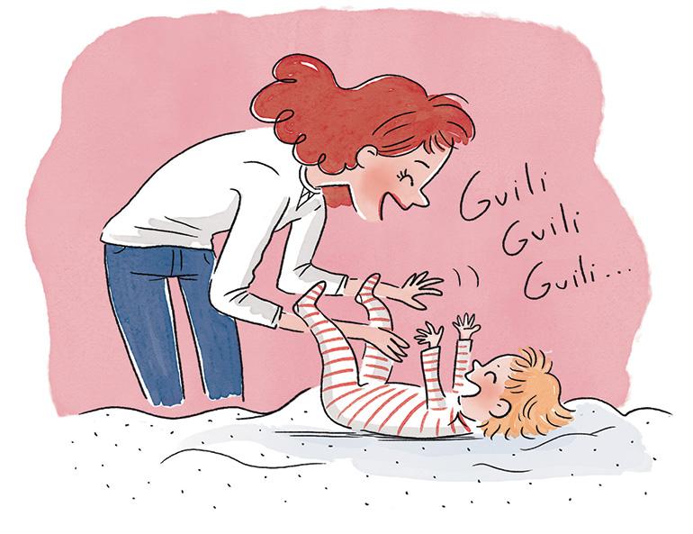 """""""Nos tout-petits ont-ils de l'humour ?"""", supplément pour les parents du magazine Popi n° 393, mai 2019. Texte : Aziliz Claquin. Illustrations : Isacile."""