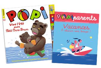 Couverture du magazine Popi n°395, juillet 2019, et son supplément pour les parents
