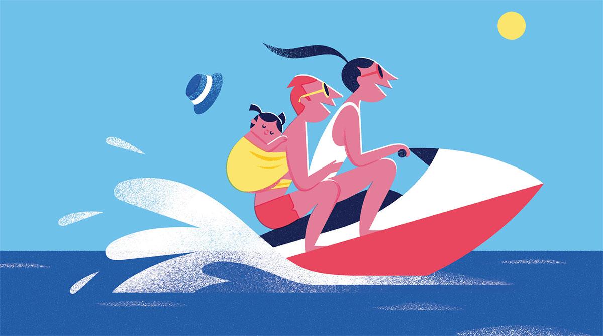 """""""Vacances : quel rythme pour les petits ?"""", supplément pour les parents du magazine Popi n°395, juillet 2019. Texte : Anne Bideault. Illustrations : Alexandra Pichard."""