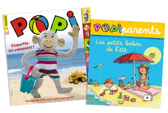 Couverture du magazine Popi n°396, août 2019, et son supplément pour les parents