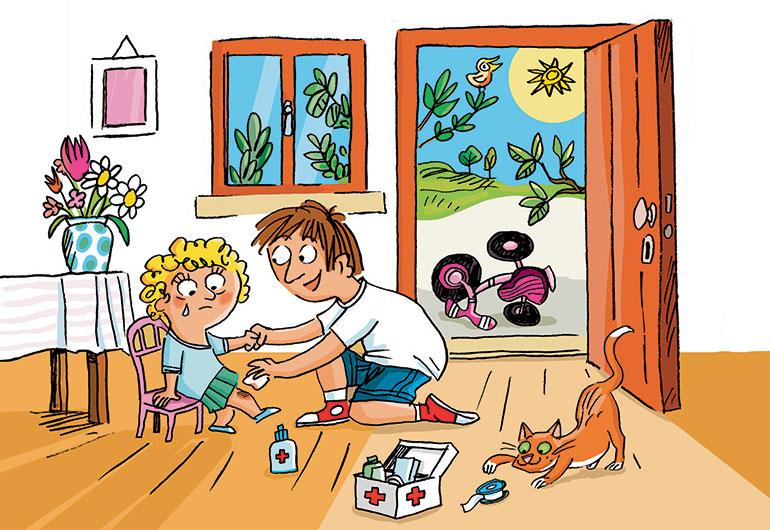 """""""Les petits bobos de l'été"""", supplément pour les parents du magazine Popi n°396, août 2019. Texte : Joséphine Lebard. Illustrations : Peter Elliott."""