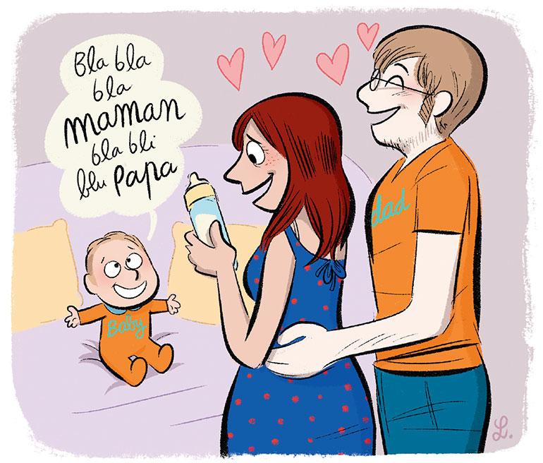 """""""Parlez-vous bébé ?"""", supplément pour les parents du magazine Popi n°397, septembre 2019. Texte : Anne Bideault. Illustrations: Laurel."""