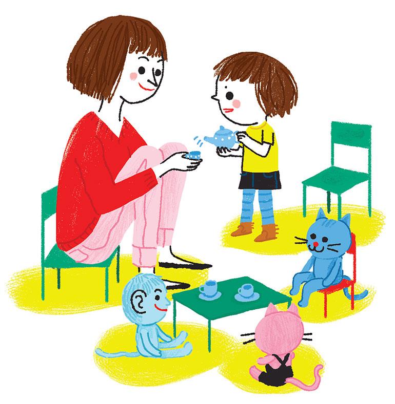 """""""Jouer, c'est grandir"""", supplément pour les parents du magazine Popi n°399, novembre 2019. Texte : Anne Bideault. Illustrations : Charlotte Roederer."""