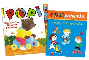 Couverture du magazine Popi n°399, novembre 2019, et son supplément pour les parents.