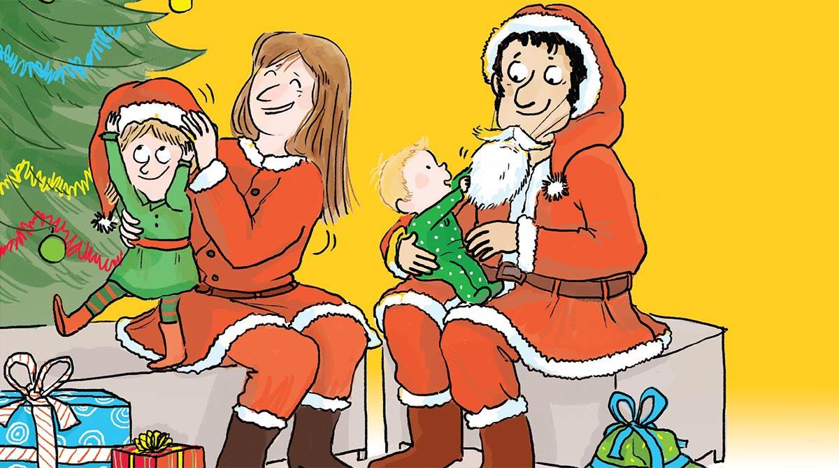 """""""Ses premiers Noëls : petits arrangements en famille"""", supplément pour les parents du magazine Popi n°400, décembre 2019. Texte : Anne Bideault. Illustration : Zelda Zonk."""