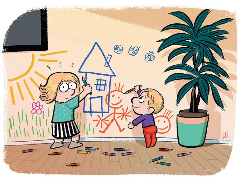 """""""Petites bêtises… grosses bêtises"""", supplément pour les parents du magazine Popi n°401, janvier 2020. Texte : Anne Bideault. Illustrations: Laurel."""