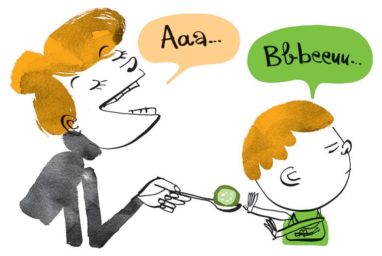 """""""Quand bébé boude son assiette"""", Popi n°403, mars 2020. Texte : Anne Bideault. Illustrations: Jean-Louis Cornalba."""