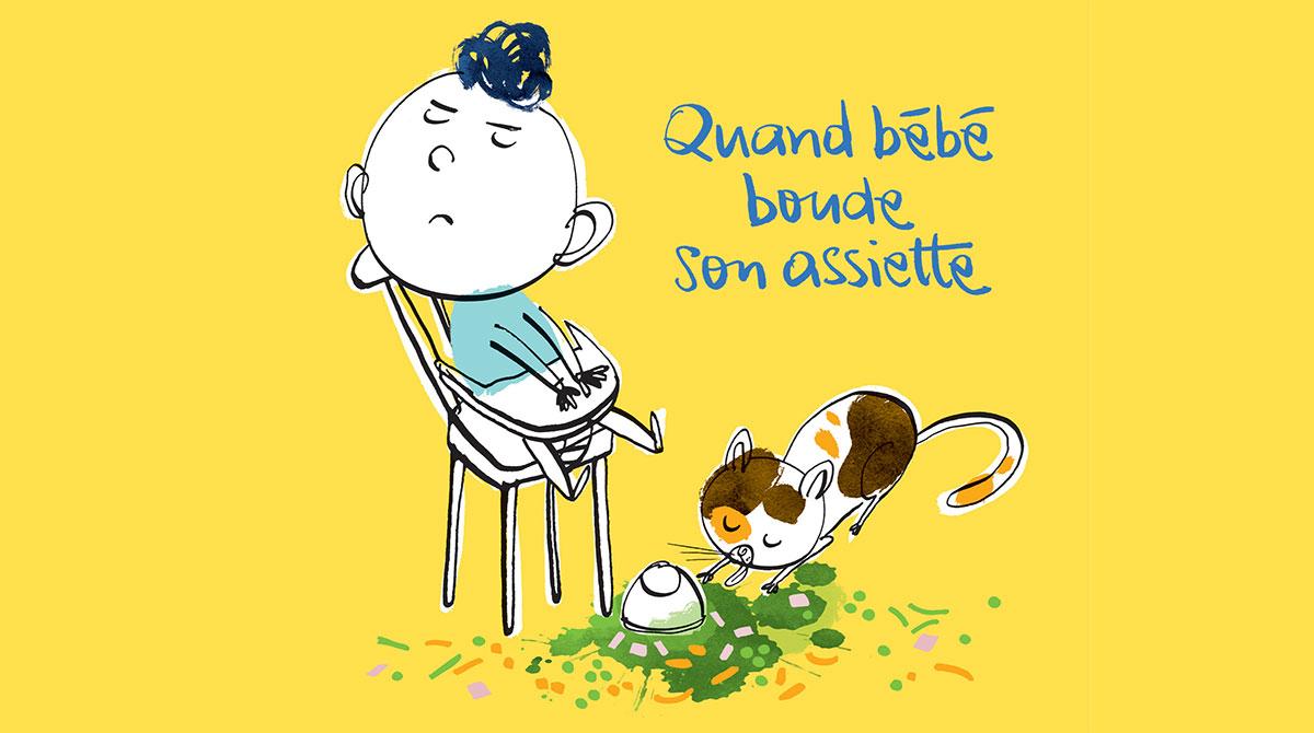"""""""Quand bébé boude son assiette"""", Popi n°403, mars 2020. Texte : Anne Bideault. Illustrations : Jean-Louis Cornalba."""