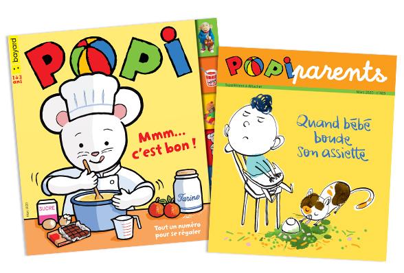 Couverture du magazine Popi n°403, mars 2020, et son supplément pour les parents