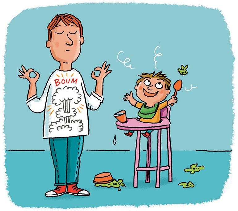 """""""Partageons nos émotions"""", supplément pour les parents du magazine Popi, n° 404, avril 2020. Texte : Anne Bideault. Illustrations : Peter Elliott."""