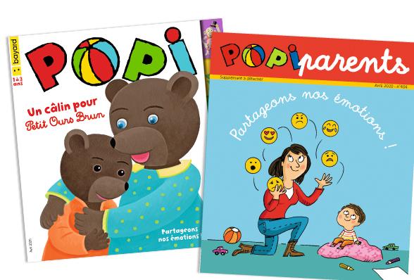 Couverture du magazine Popi n°404, avril 2020, et son supplément pour les parents