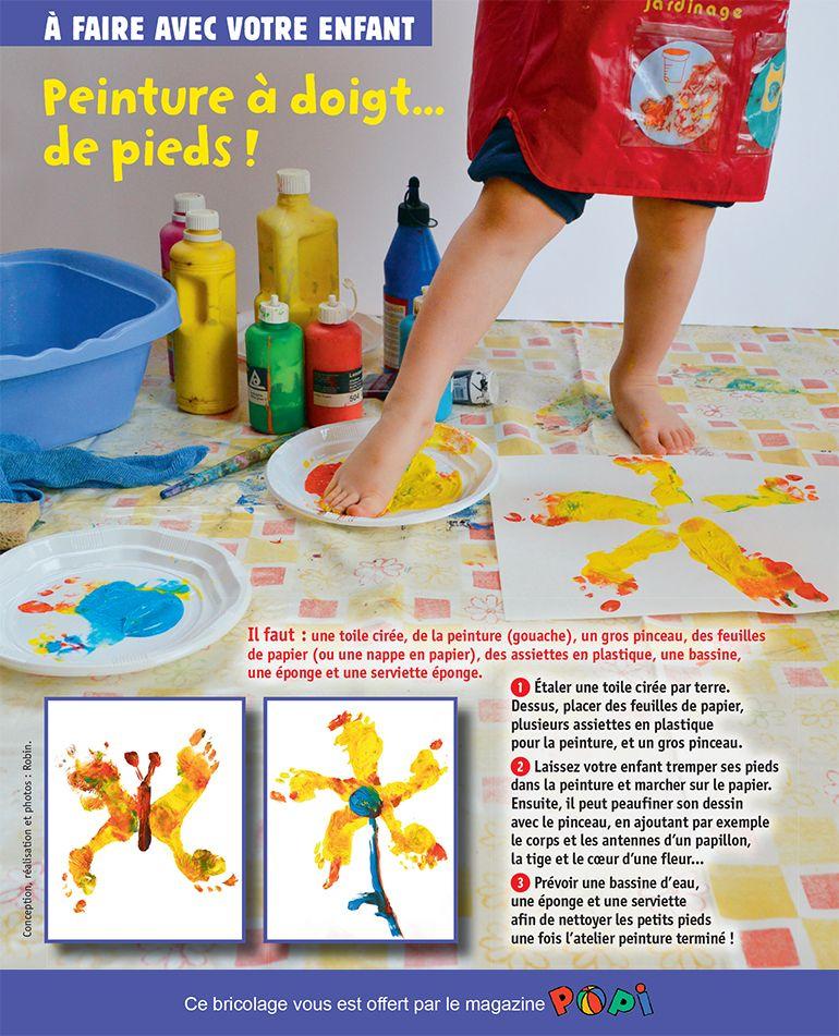 """""""Peinture à doigts de pieds"""", supplément pour les parents du magazine Popi n°341, janvier 2015. Conception, réalisation et photos : Robin."""