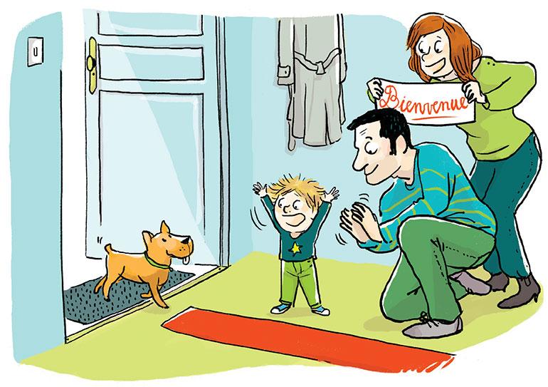 """""""Un animal à la maison… Pourquoi pas ?"""", supplément pour les parents du magazine Popi n°405, mai 2020. Texte : Joséphine Lebard. Illustration: Zelda Zonk."""