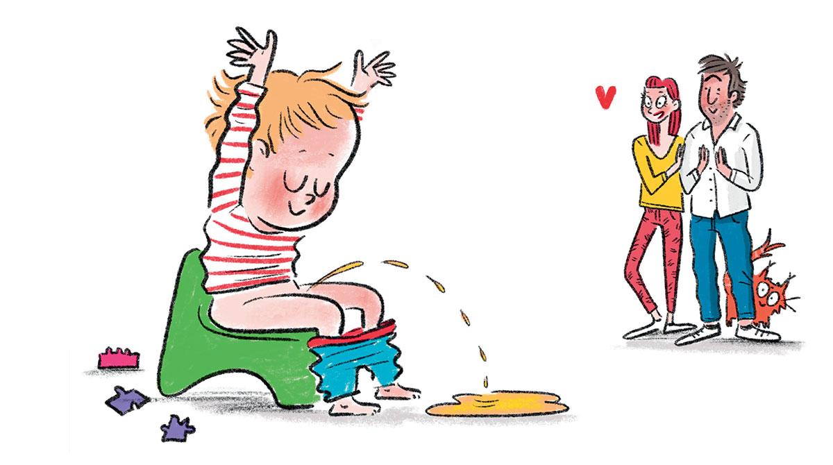 """""""Le vrai-faux du pot - Le pot sans stress"""", supplément pour les parents du magazine Popi n°406, juin 2020. Texte : Joséphine Lebard. Illustrations : Isacile."""
