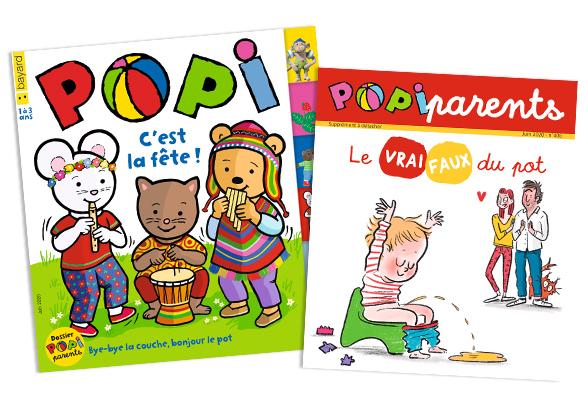 Couverture du magazine Popi n°406, juin 2020, et son supplément pour les parents