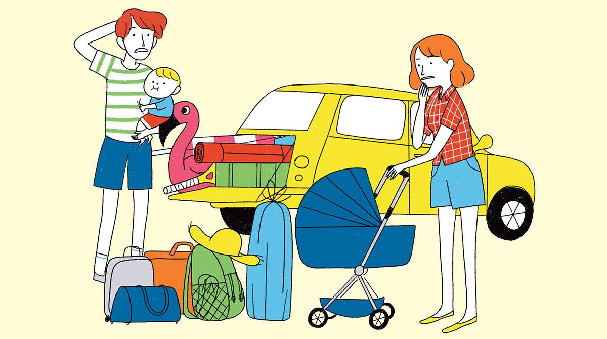 """""""Voyager léger : mission (im)possible ?"""", supplément pour les parents du magazine Popi n°407, juillet 2020. Illustration : Aki."""