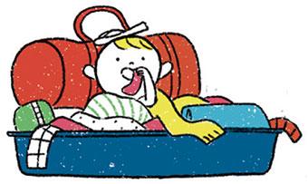 """""""Voyager léger: mission (im)possible?"""", supplément pour les parents du magazine Popi n°407, juillet 2020. Illustration: Aki."""