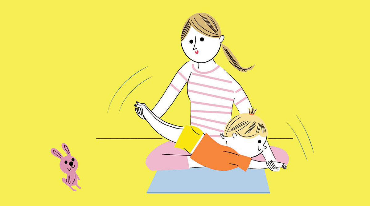 """""""Vive la gym avec son tout-petit ! La petite gym de l'été"""", supplément pour les parents du magazine Popi n ̊408, août 2020. Texte : Lise Bilien. Illustrations : Sophie Bouxom."""