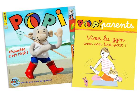 Couverture du magazine Popi n°408, août 2020, et son supplément pour les parents