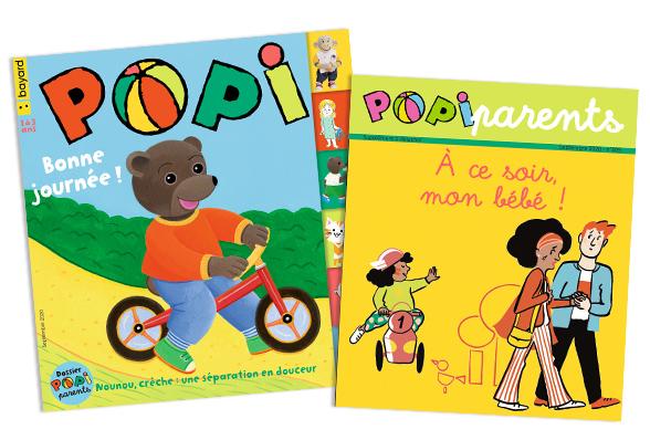Couverture du magazine Popi n°409, septembre 2020, et son supplément pour les parents