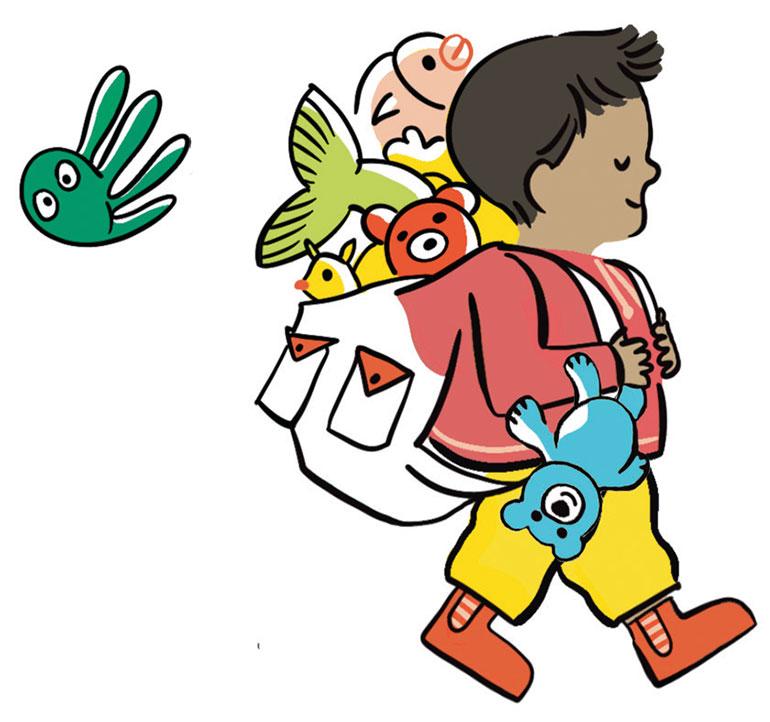 """""""À la crèche, chez la nounou… comment lui dire au revoir?"""", supplément pour les parents du magazine Popi n°409, septembre 2020. Illustration: Claire Le Meil."""