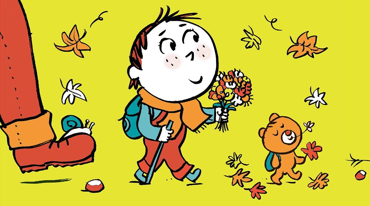 """Pascal Lemaître. """"Marcher avec un tout-petit"""", supplément pour les parents de Popi n°410."""