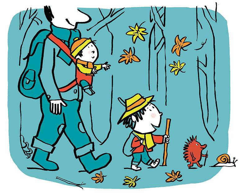 """""""Marcher avec un tout-petit"""", supplément pour les parents du magazine Popi n°410, octobre 2020. Texte : Joséphine Lebard. Illustrations : Pascal Lemaître."""