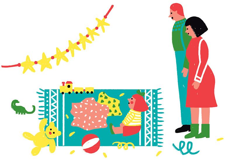 """""""Cadeaux de Noël: trouver la juste mesure"""", supplément pour les parents du magazine Popi n°412, décembre 2020. Texte: Christine Lamiable. Illustrations: Liuna Virardi."""