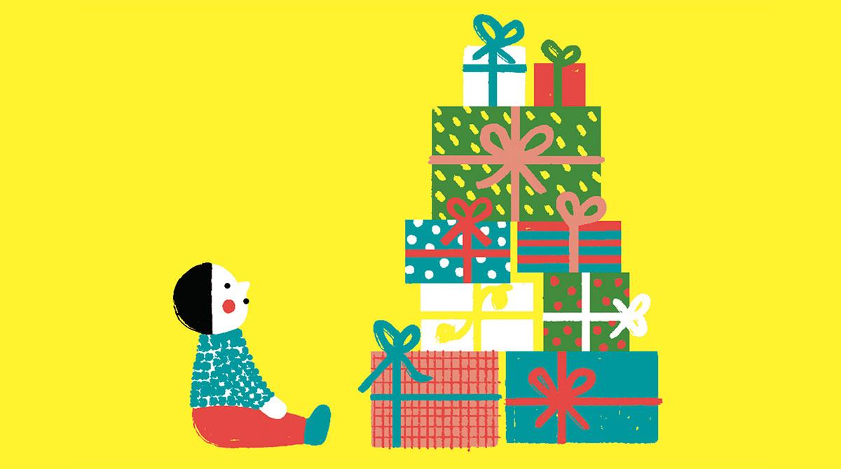 """""""Cadeaux de Noël : trouver la juste mesure"""", supplément pour les parents du magazine Popi n°412, décembre 2020. Texte : Christine Lamiable. Illustrations: Liuna Virardi."""