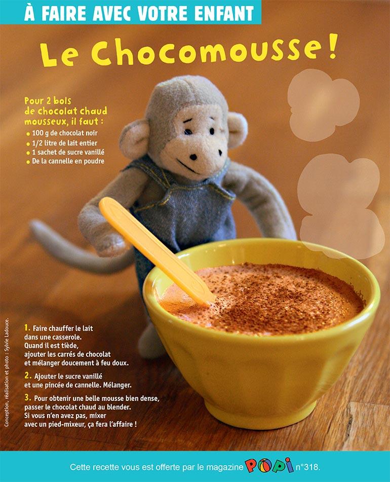"""""""Le chocomousse"""", supplément pour les parents du magazine Popi n°318, février 2013. Conception, réalisation et photo : Sylvie Ladouce."""