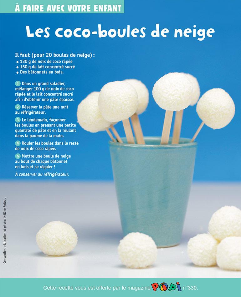 """""""Les coco-boules de neige"""", supplément pour les parents du magazine Popi n°330, février 2014. Conception, réalisation et photo : Hélène Poitral."""