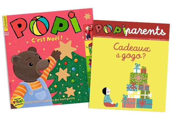 Couverture du magazine Popi n°412, décembre 2020, et son supplément pour les parents