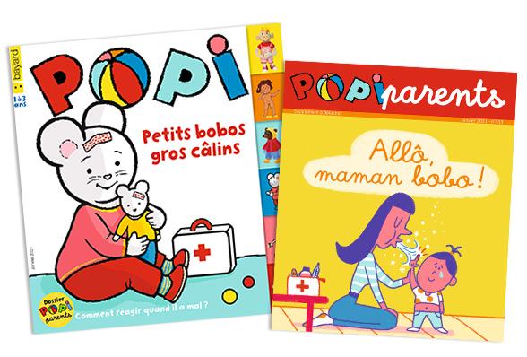 Couverture du magazine Popi n°413, janvier 2021, et son supplément pour les parents