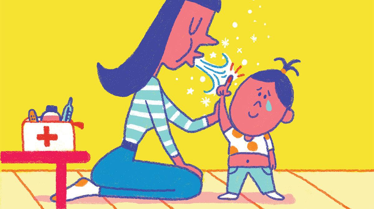 """""""Allô, parents bobo !"""", supplément pour les parents du magazine Popi n°413, janvier 2021. Texte : Joséphine Lebard. Illustrations : Océane Meklemberg."""