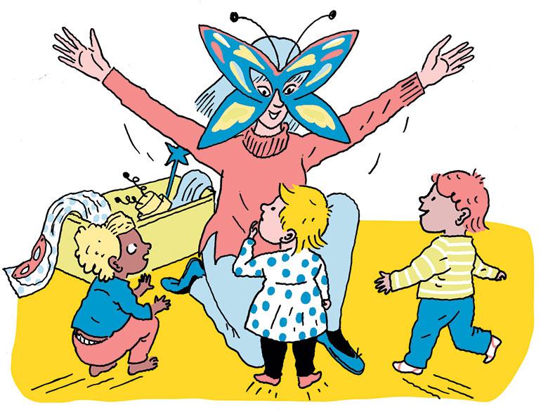 """""""Comment faire oublier le masque ?"""", supplément pour les parents du magazine Popi n°414, février 2021. llustrations : Sandrine Martin."""