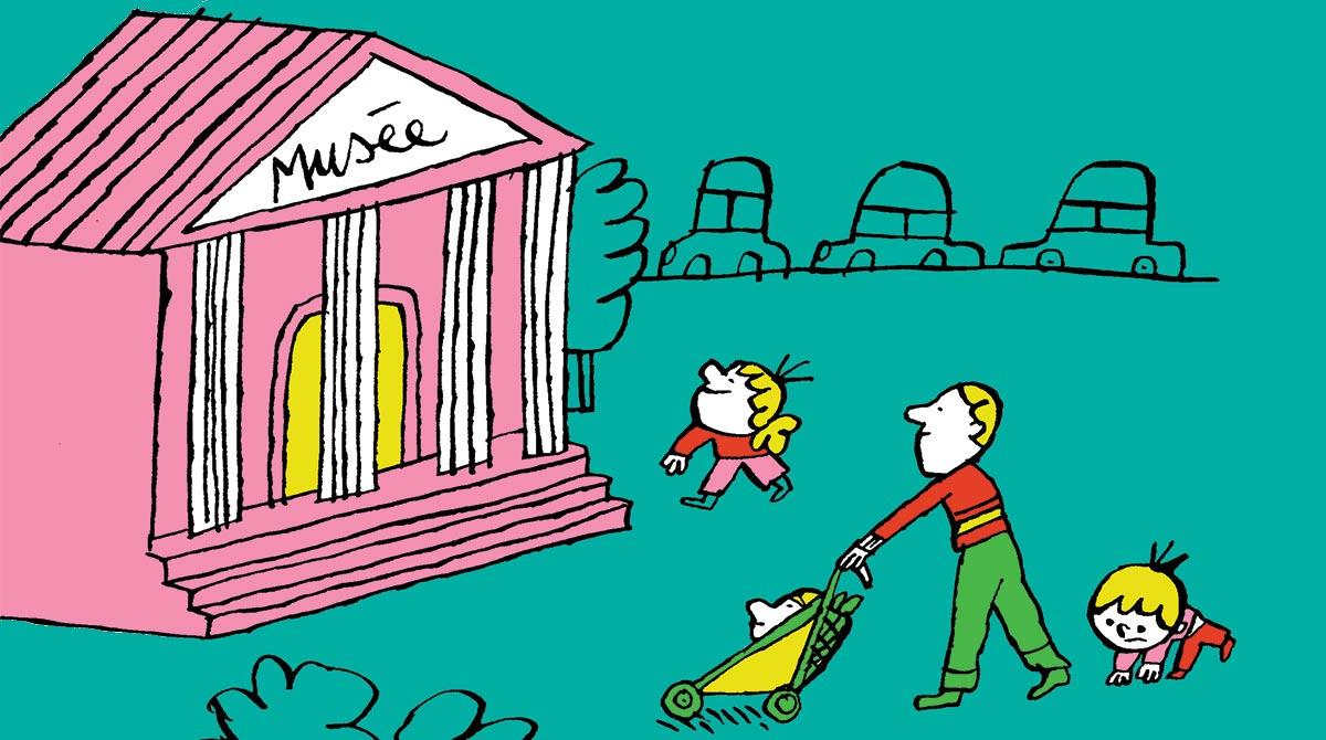"""""""Au musée avec un petit"""", supplément pour les parents du magazine Popi n°415, mars 2021. Illustration : Charles Dutertre."""
