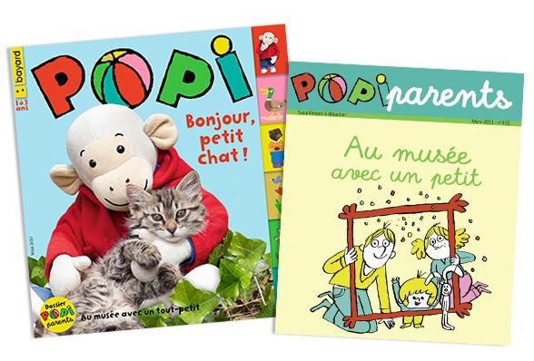 Sommaire du magazine Popi n°415, mars 2021, et son supplément pour les parents