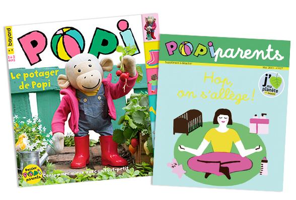 Couverture du magazine Popi n°417, mai 2021, et son supplément pour les parents